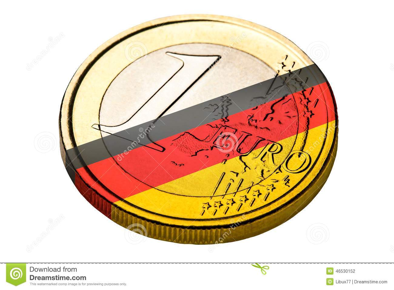 One Euro Coin German Flag Symbol Stock Photo Image Of German