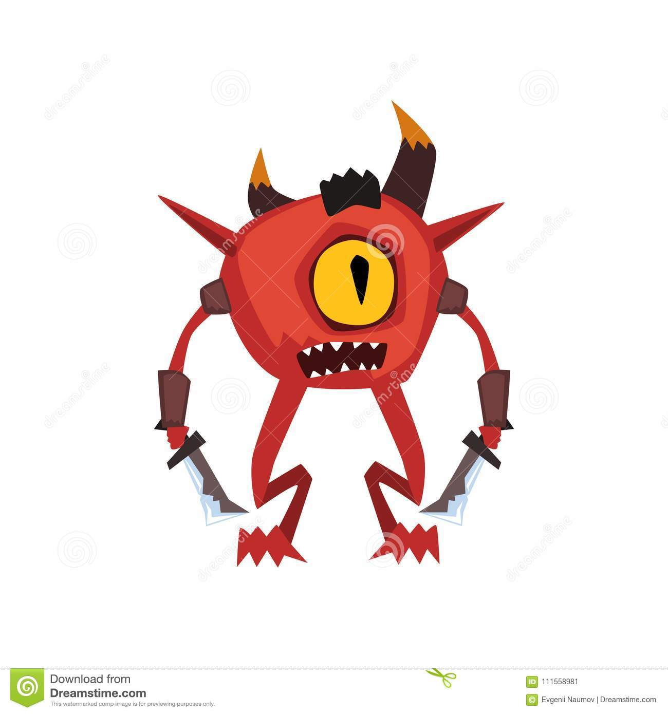 One eyed warrior monster fantasy magical creature character vector Illustration on a white background