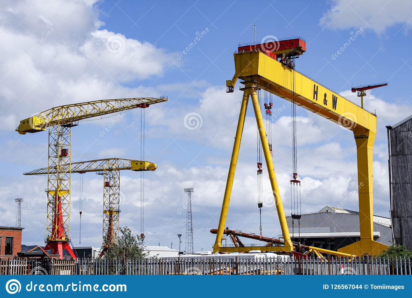 One of the famous yellow Harland and Wolff cranes in Belfast