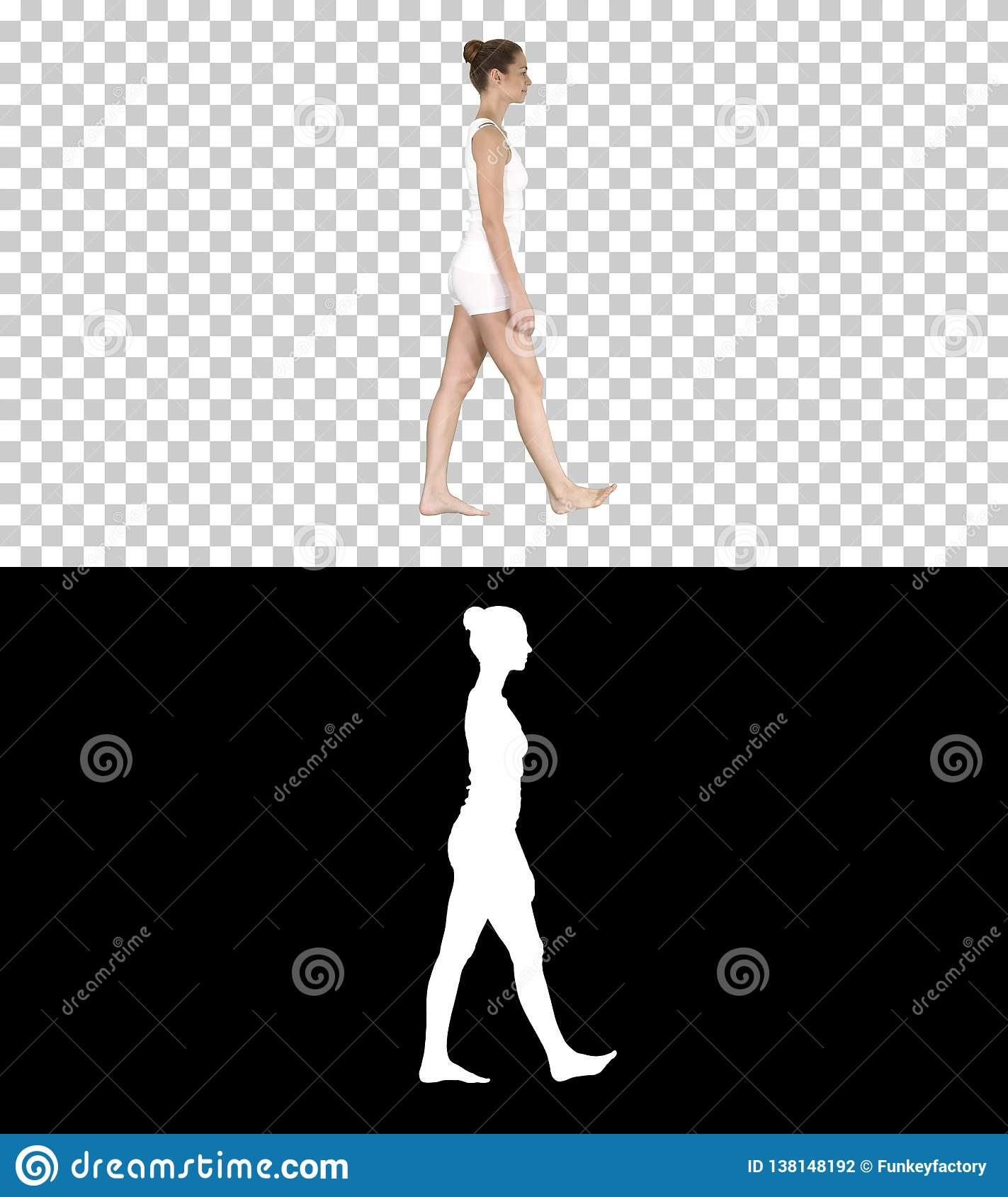 One female walking barefoot in white clothes, Alpha Channel