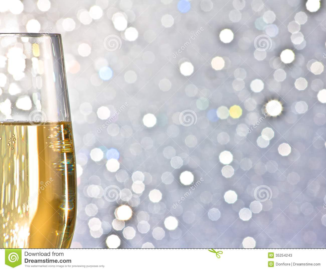 One Flute Of Golden Champagne On Abstract Background Stock