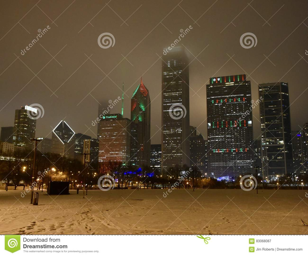 Christmas In Chicago Skyline.One Foggy Christmas Night Editorial Photography Image Of