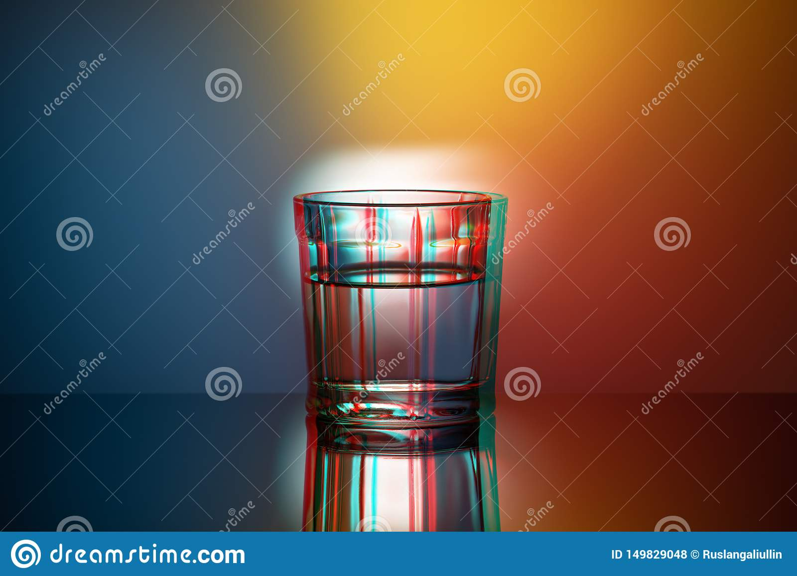 One glass Cup on a colored background, anaglyph, glitch effect, pop art