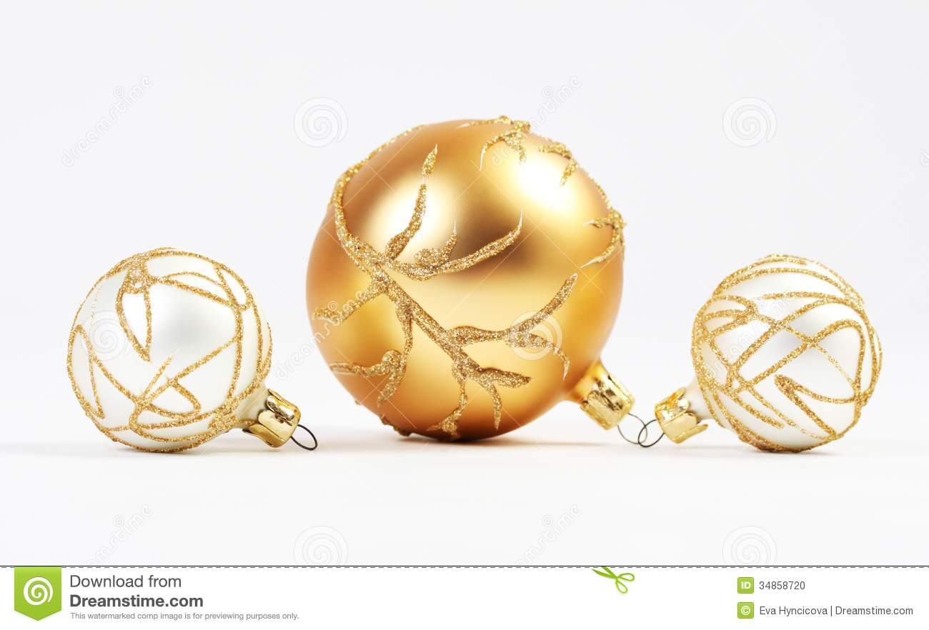 one gold christmas ball and two white christmas balls with gold elements on white background - White And Gold Christmas Ornaments