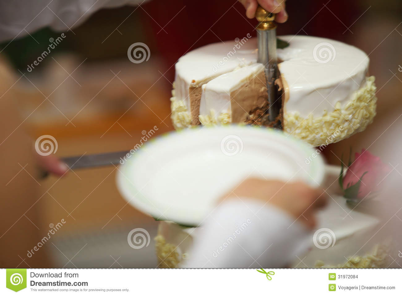 One Hand Cutting Beautiful Wedding Cake Stock Photo Image Of
