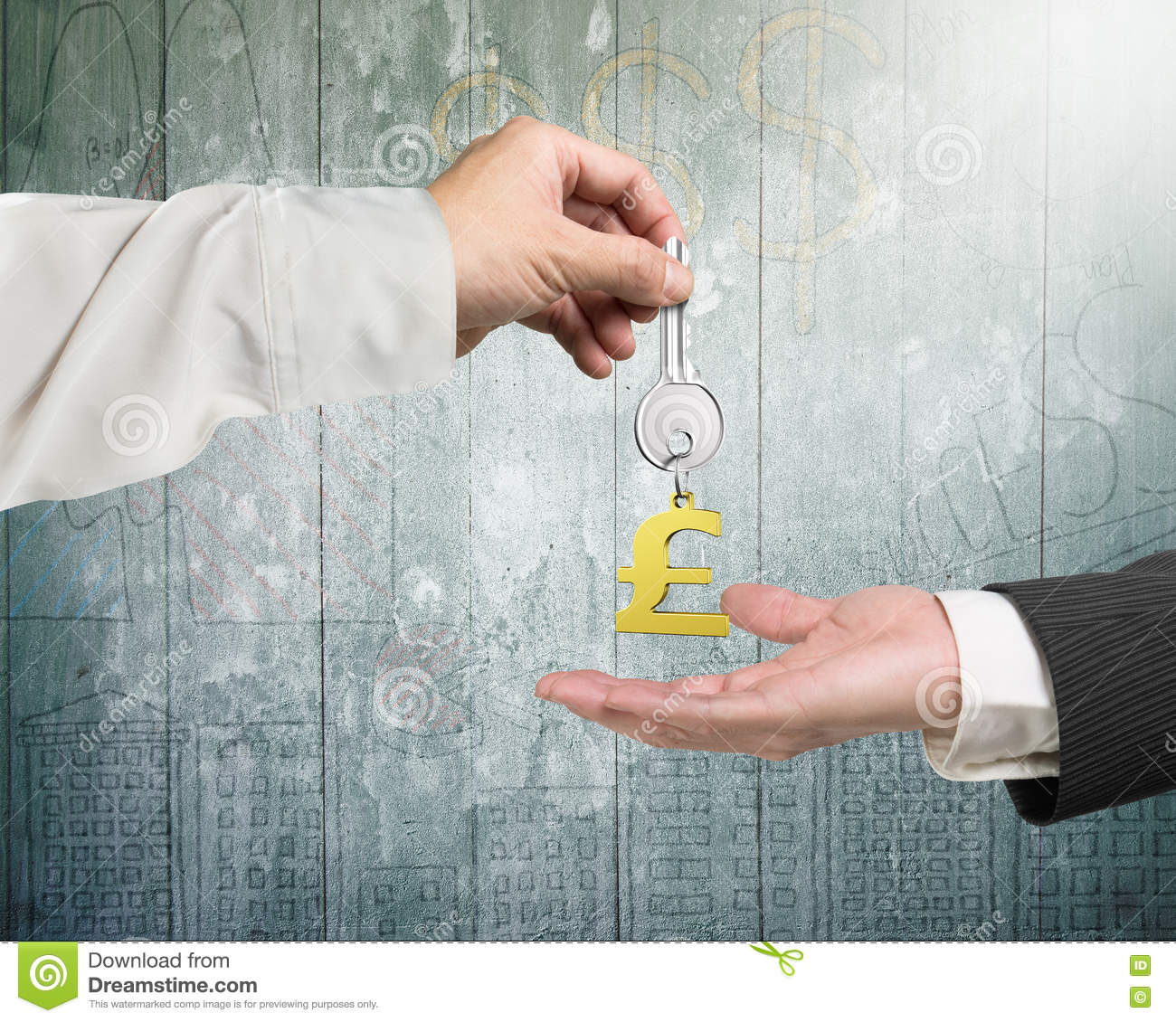 one hand giving key pound symbol keyring to another hand stock image