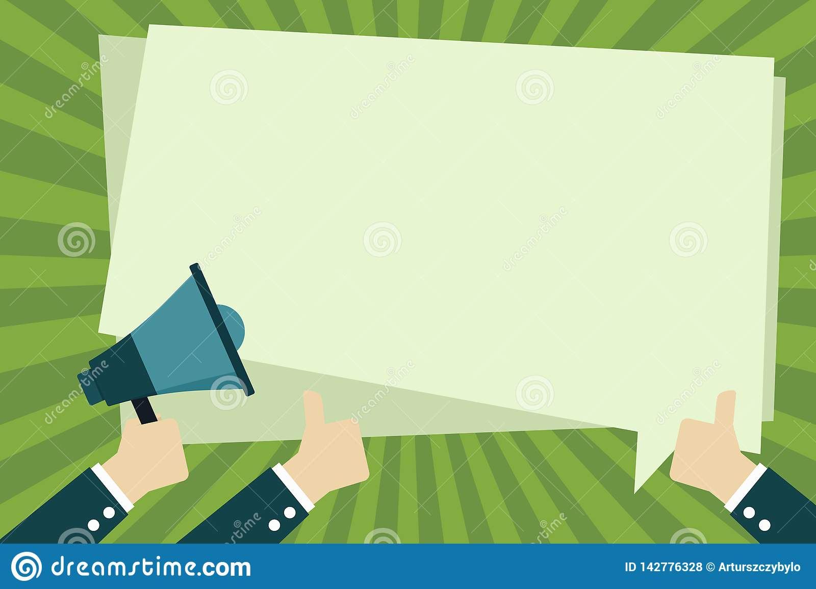 One Hand is Holding Megaphone and the Other Two are Gesturing Thumbs Up. Blank Rectangular Shaped Solid Color Speech