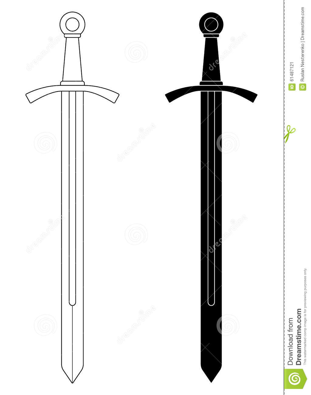 onehanded medieval knight sword stock vector image