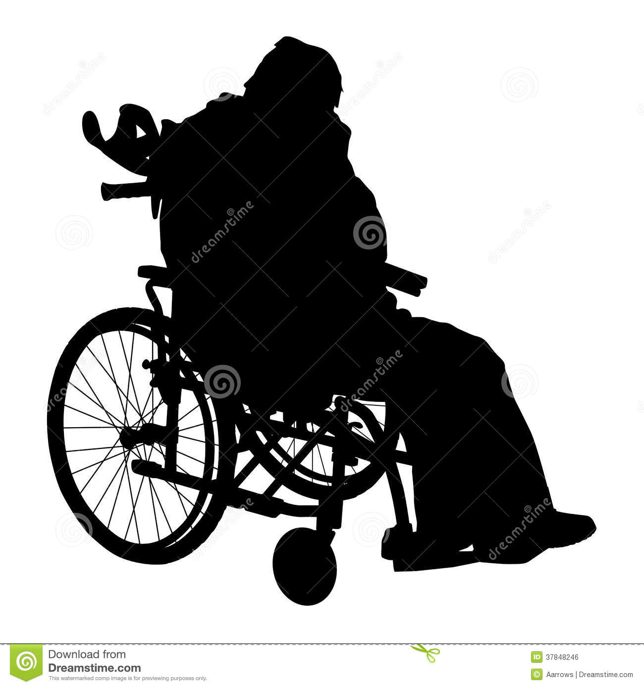 One handicapped man in wheelchair silhouette royalty free Handicapped wheelchair