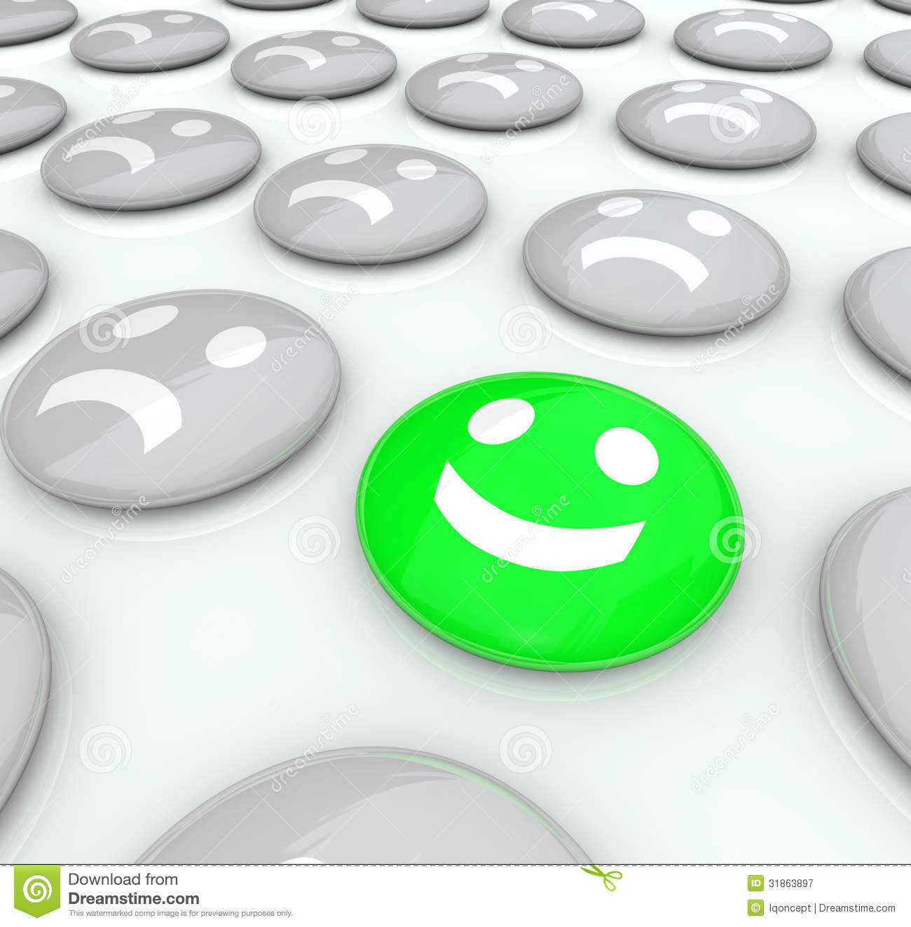 Attitude Face Clip Art One happy face among many
