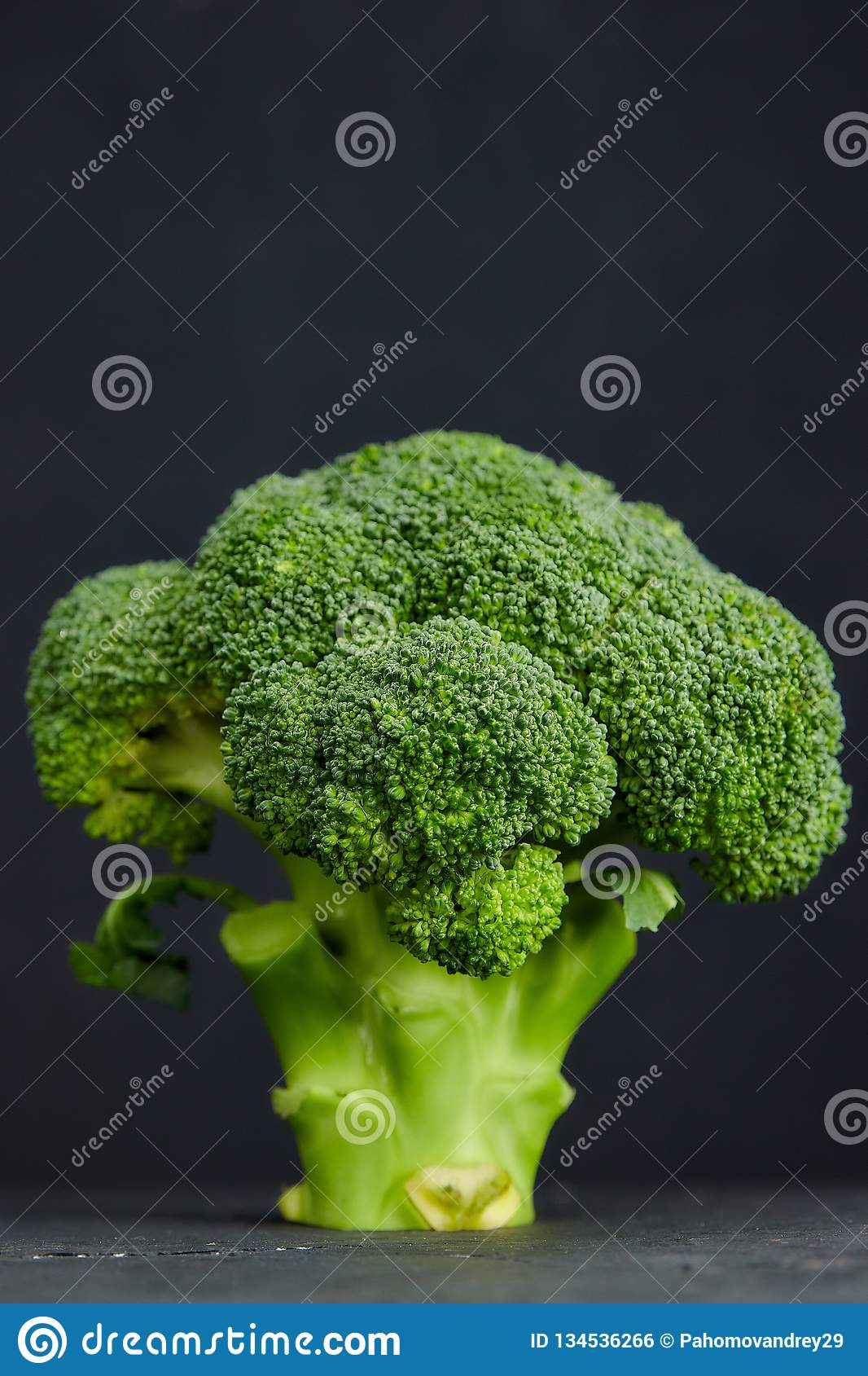One head of healthy salad. fresh green broccoli. horizontal view of green vegetable flower. healthy diet. copy space. green. Two heads of healthy salad. fresh royalty free stock image