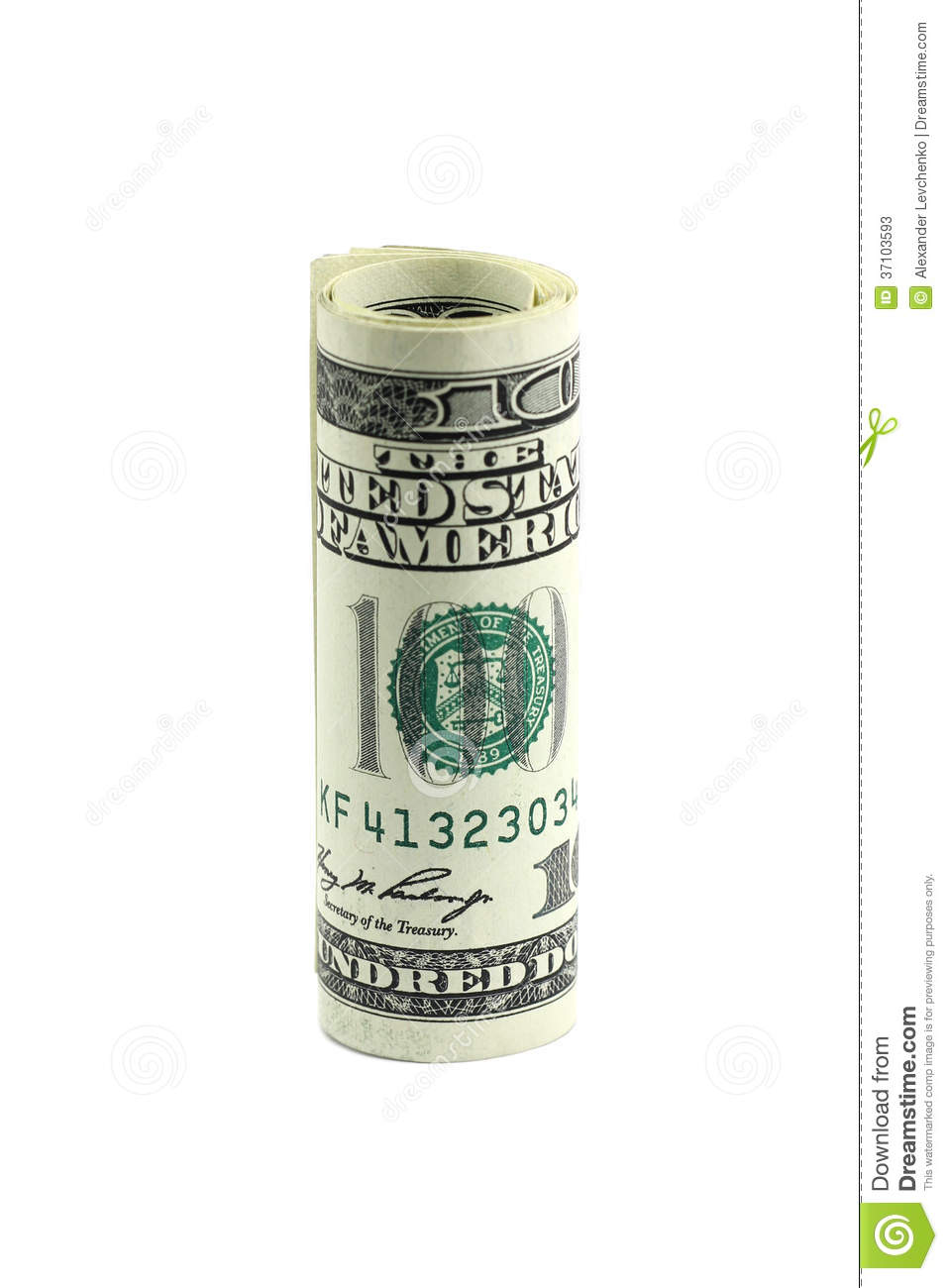 One Hundred Dollar Bill Rolled Into A Roll Stock Image - Image of ...