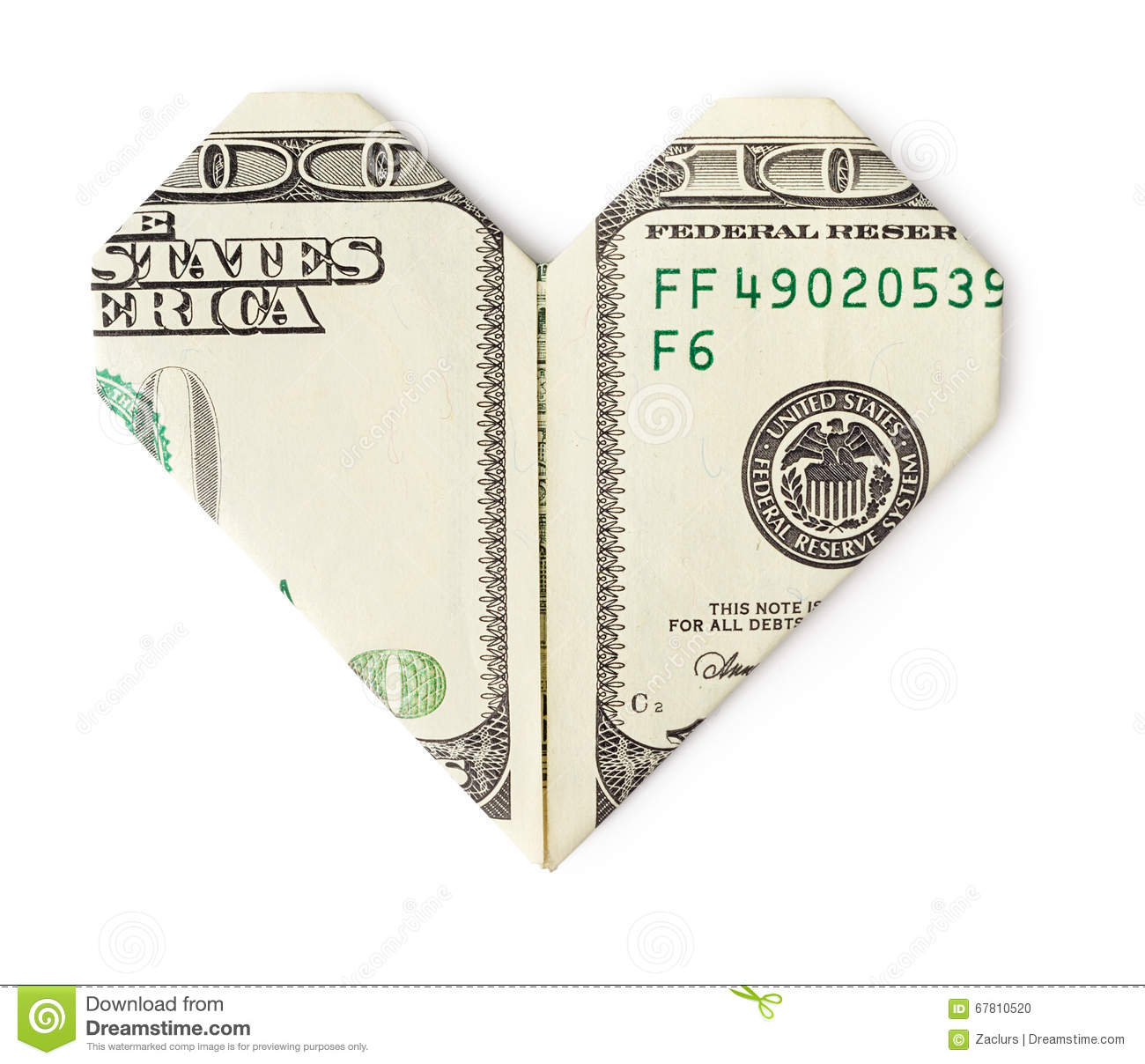Download One Hundred Dollars Folded Into Heart Isolated Stock Photo - Image of finance, isolated: 67810520