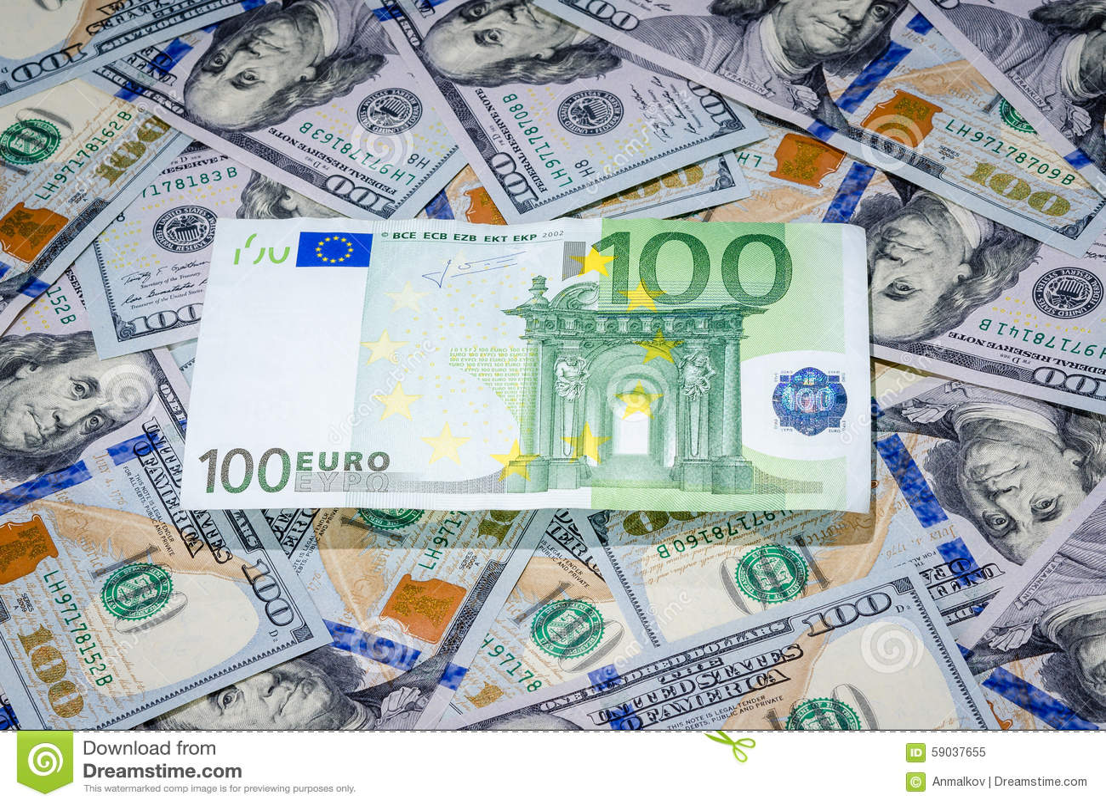 One Hundred Euro On American Dollars Bills Paper Money Background
