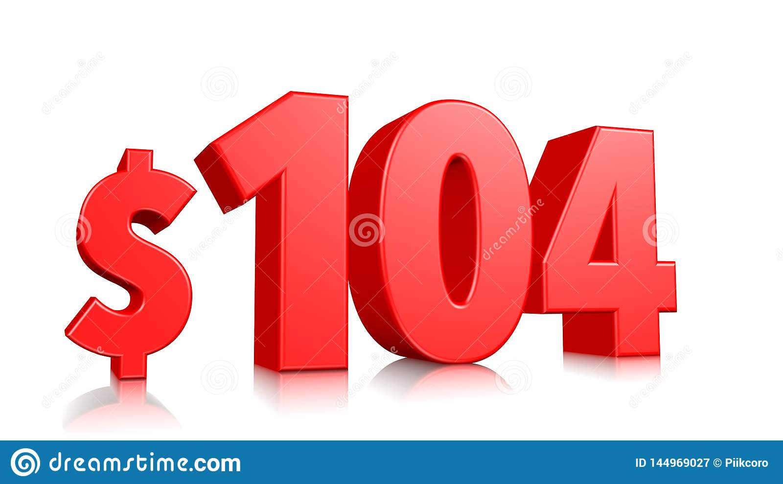 104$ One hundred fourteen price symbol. red text 3d  render with dollar sign on white background