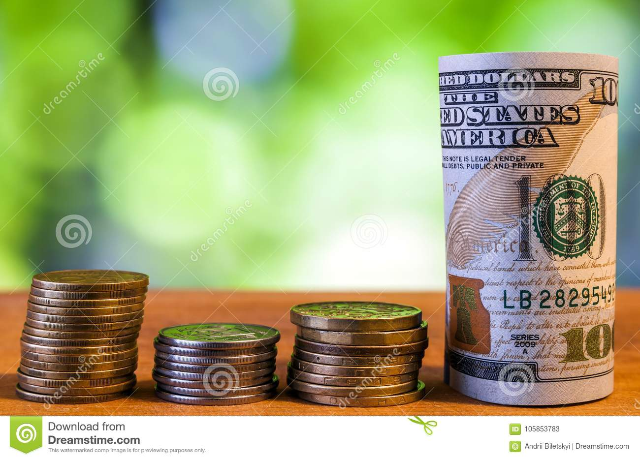 One hundred US dollar bills banknotes, with american cents coins
