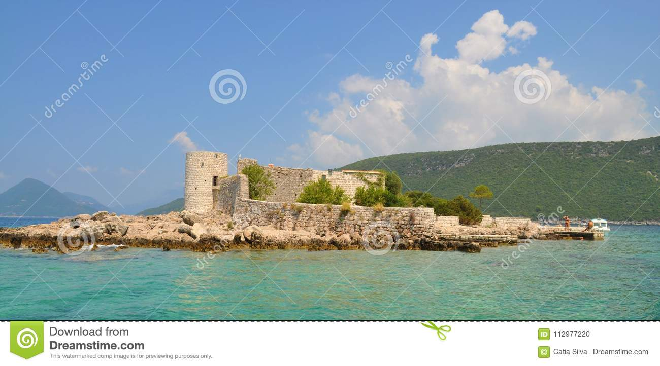 One island with Monastery and church