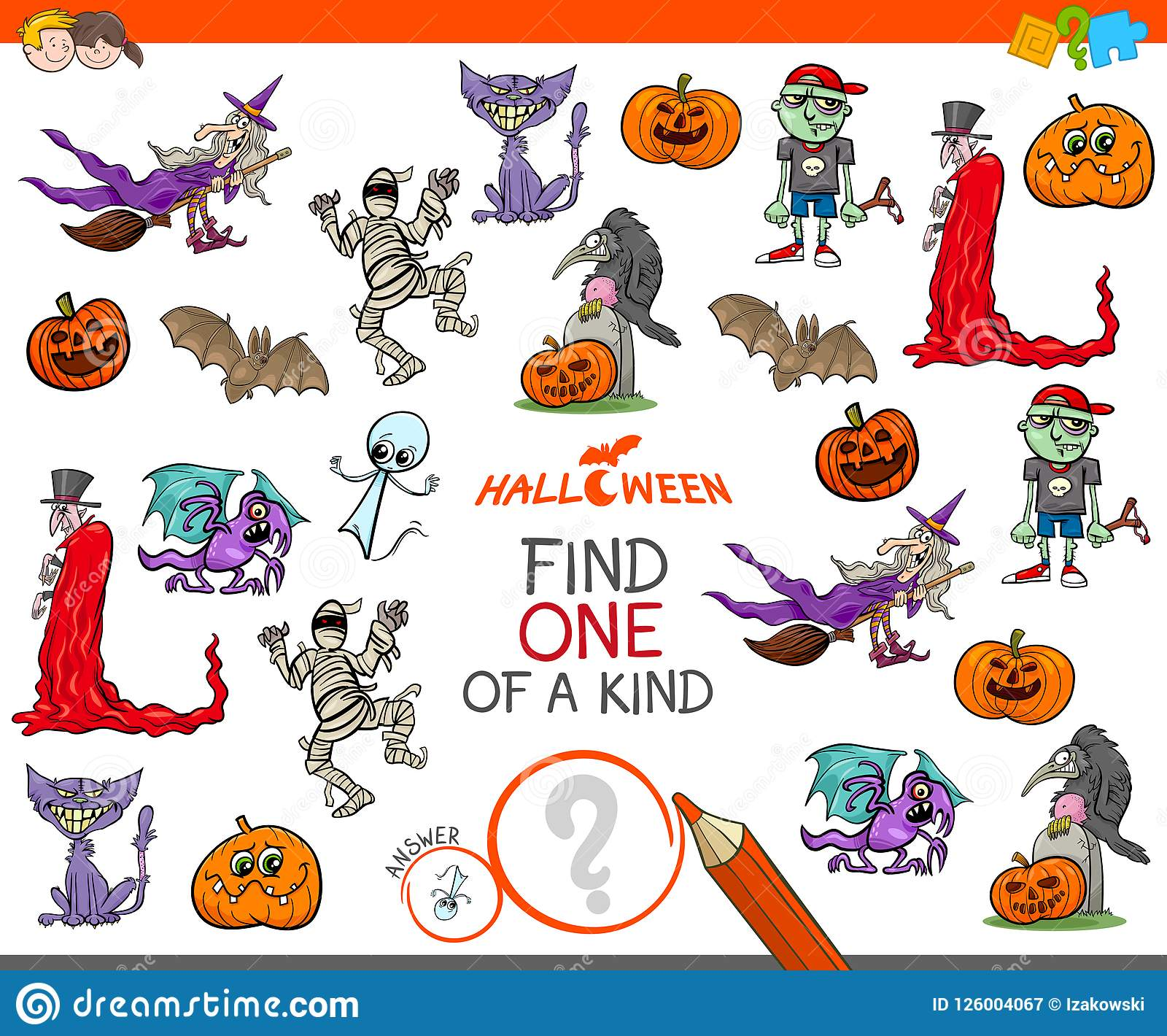 One Of A Kind Game With Halloween Characters Stock Vector