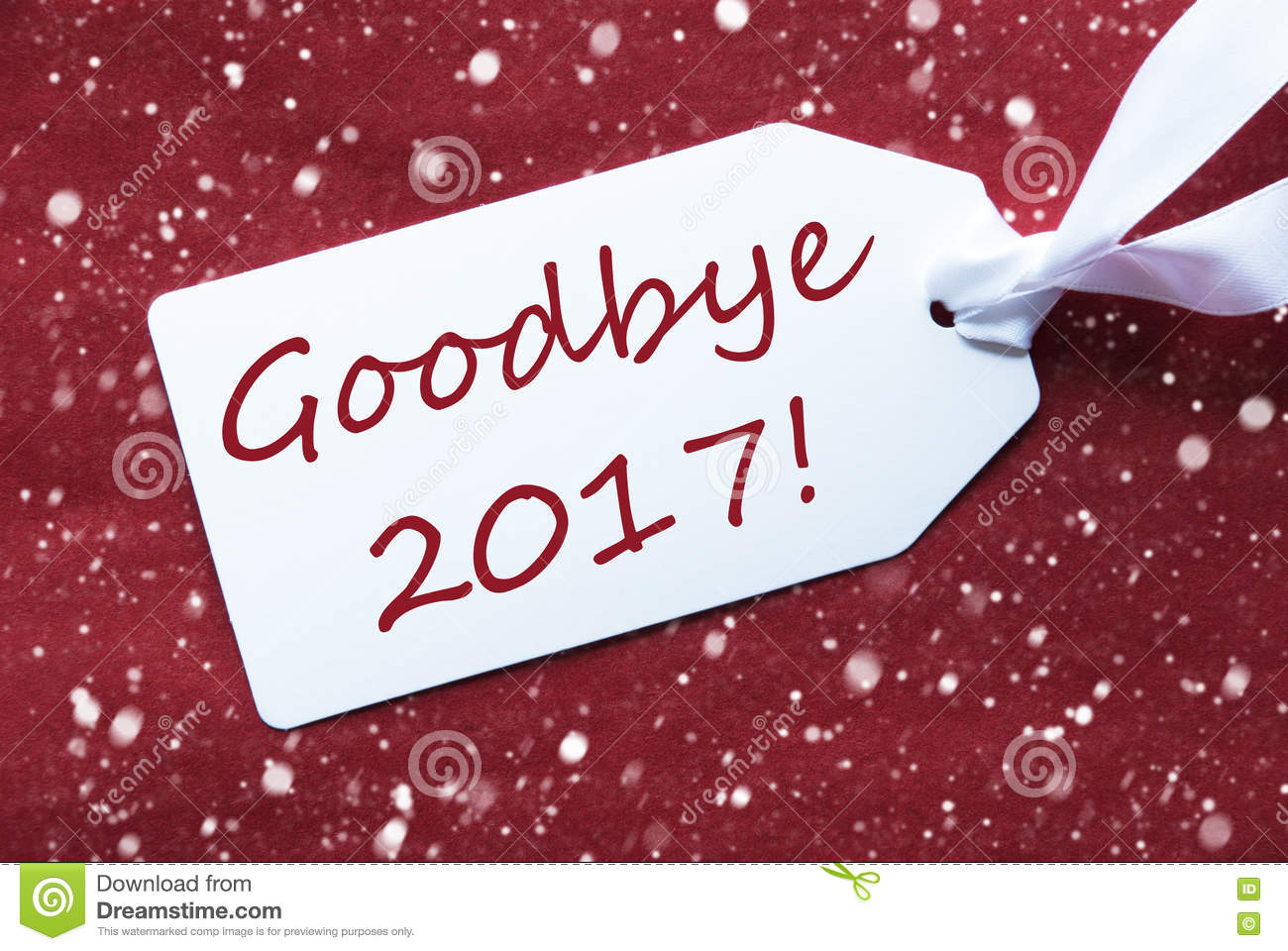 One Label On Red Background, Snowflakes, Text Goodbye 2017 Stock Photography