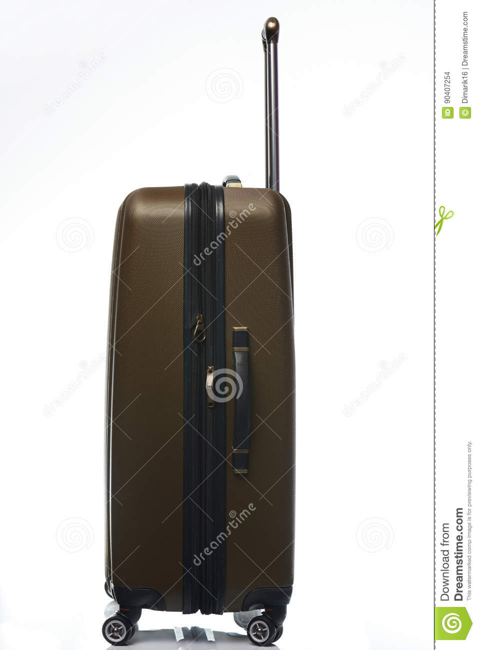 One Large Plastic Brown Suitcase Stock Photo - Image: 90407254