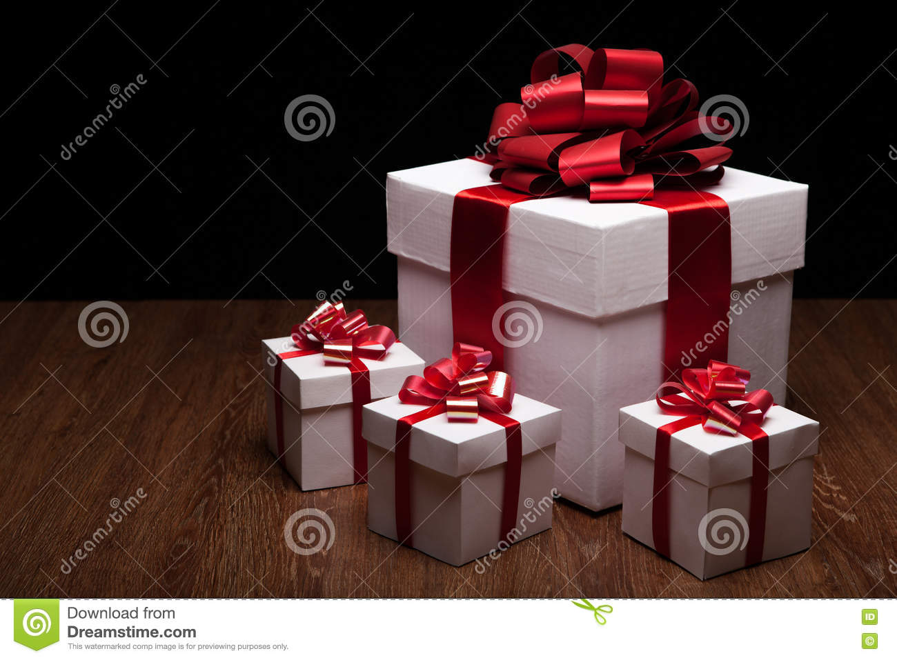 One Large White Gift Box With Small Gift Boxes Stock Image Image