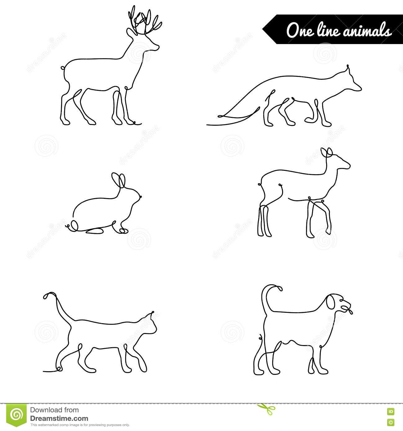 Single Line Drawings Of Animals : One line animals set logos vector stock illustration with