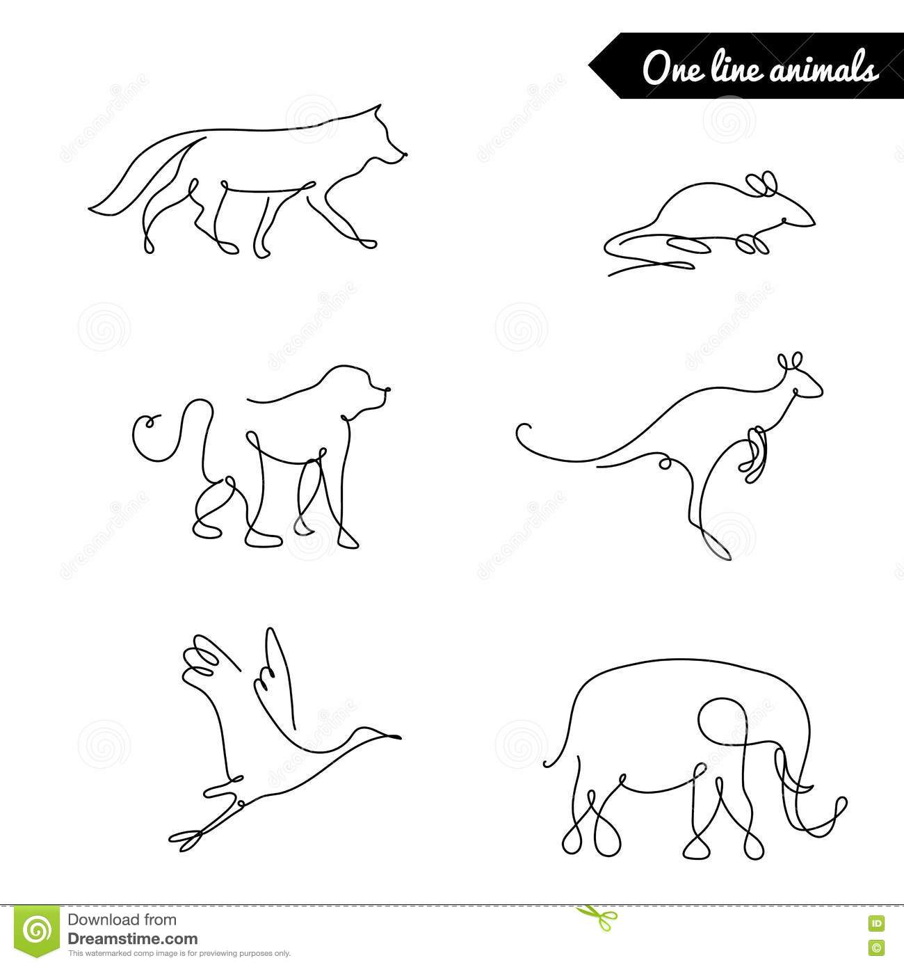 One Line Design : One line animals set logos vector stock illustration with