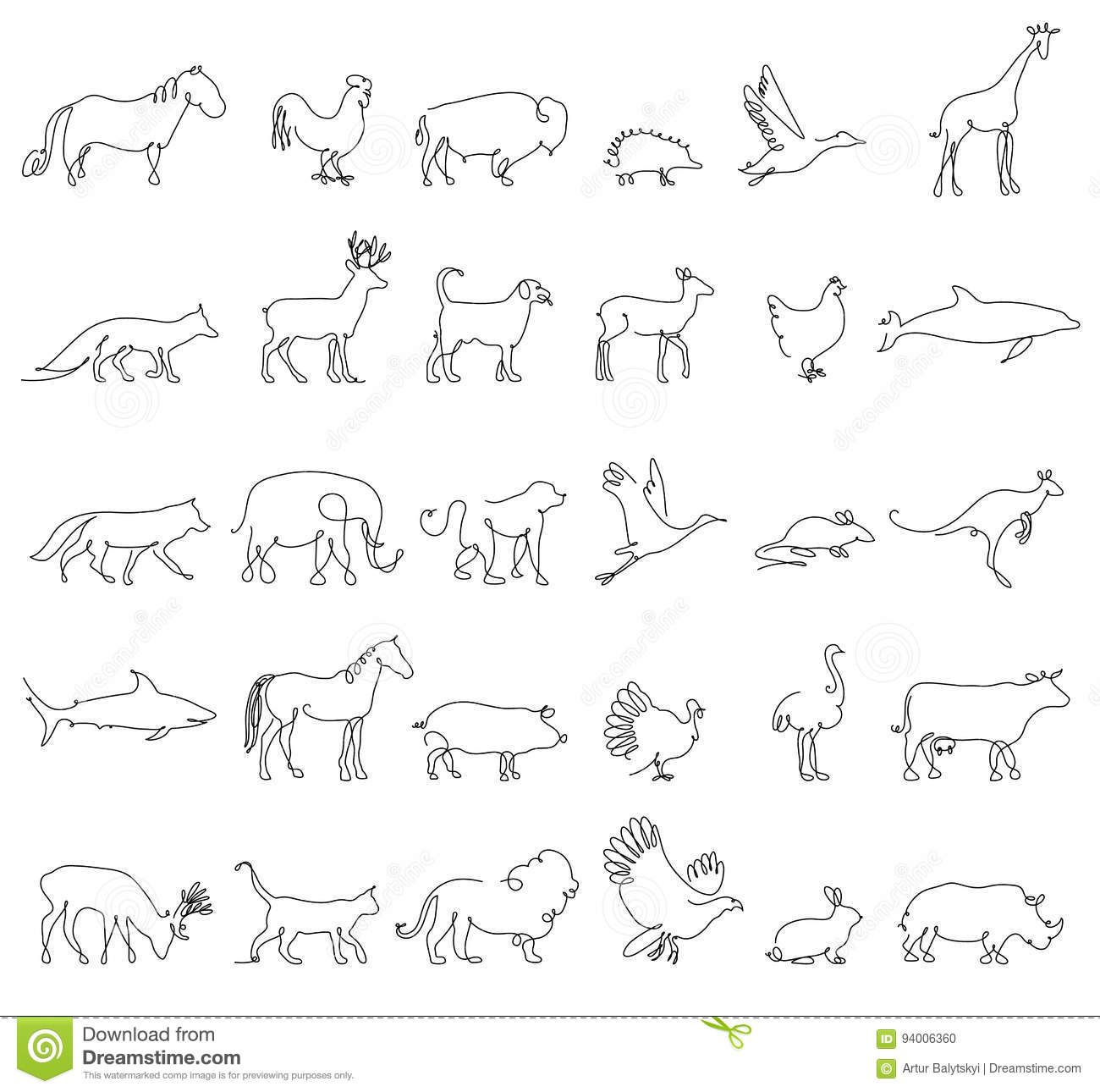 One line animals set logos vector stock illustration turkey and cow pig