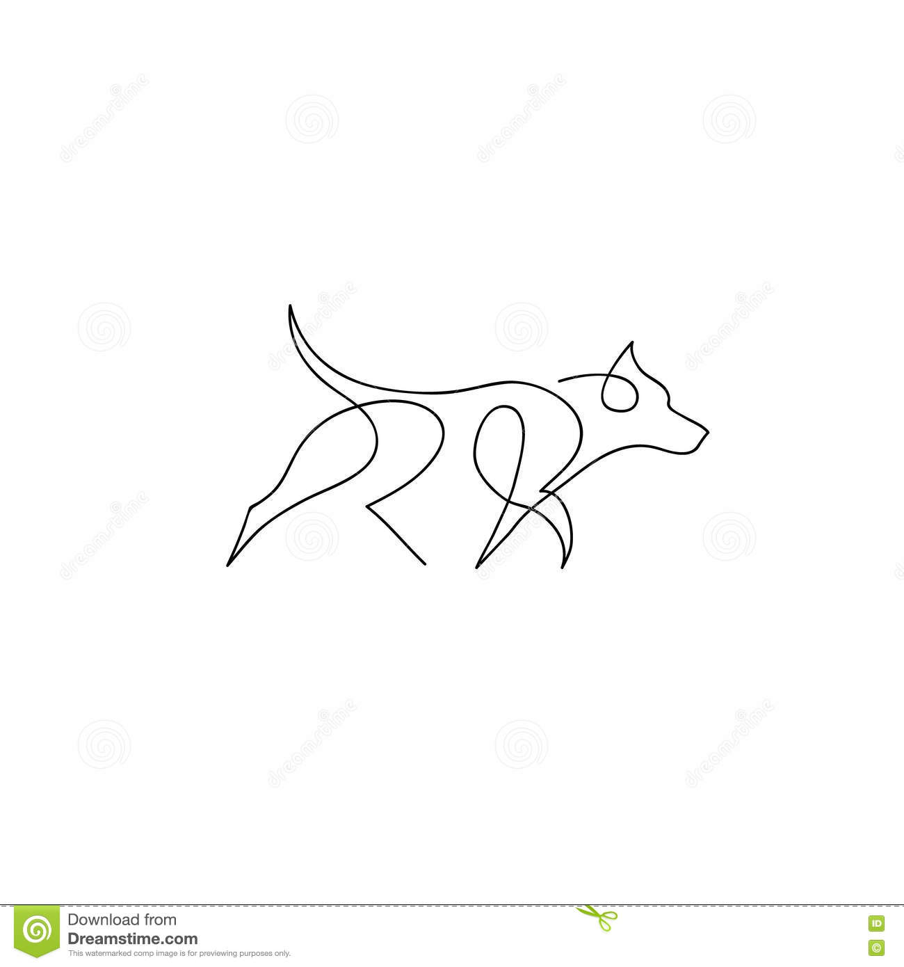 One Line Drawings Of Animals : One line dog design silhouette german shepherd hand