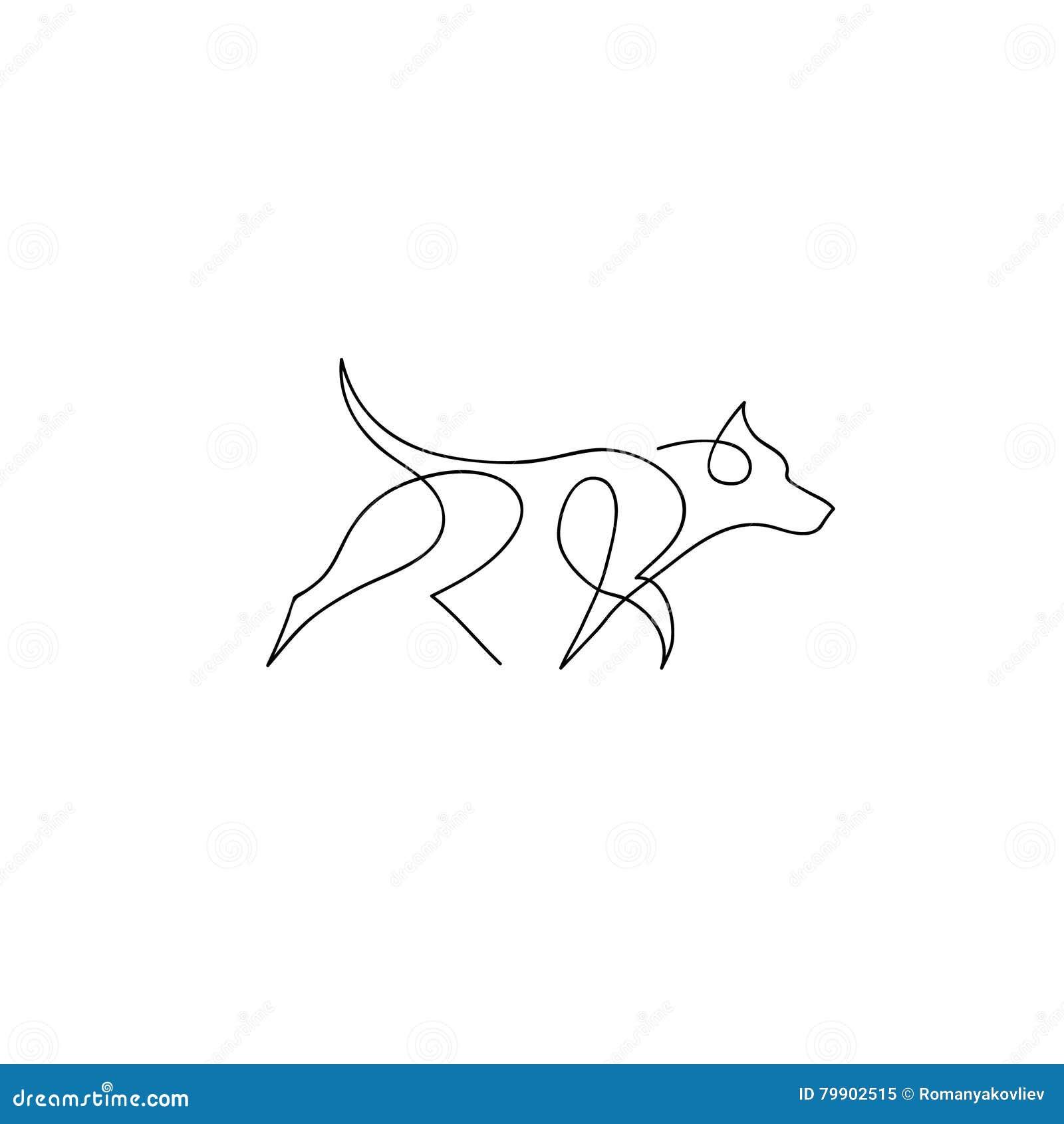 One Line Art Facepalm : One line dog design silhouette german shepherd hand