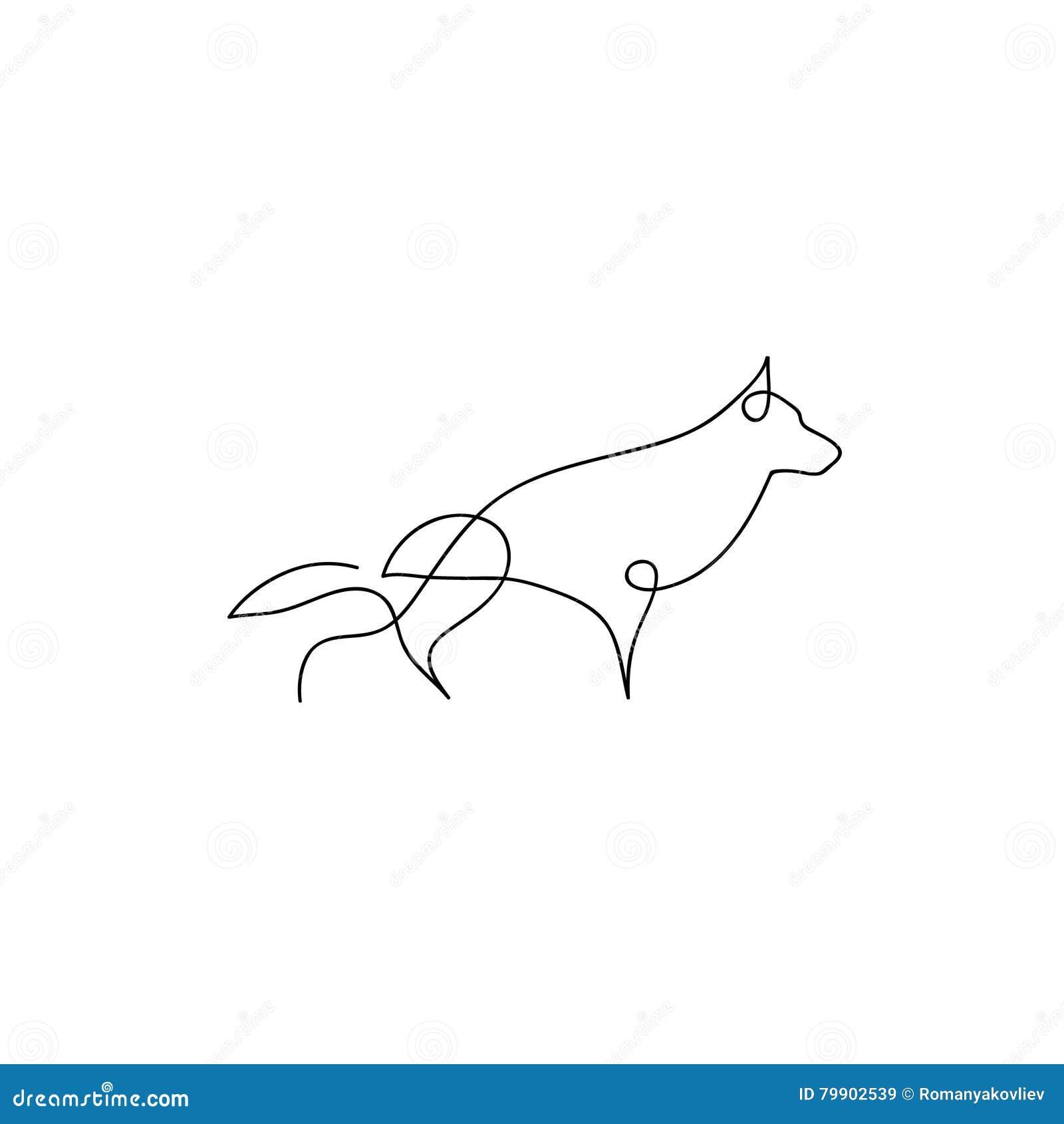 Line Art Dog Tattoo : One line dog design silhouette german shepherd hand