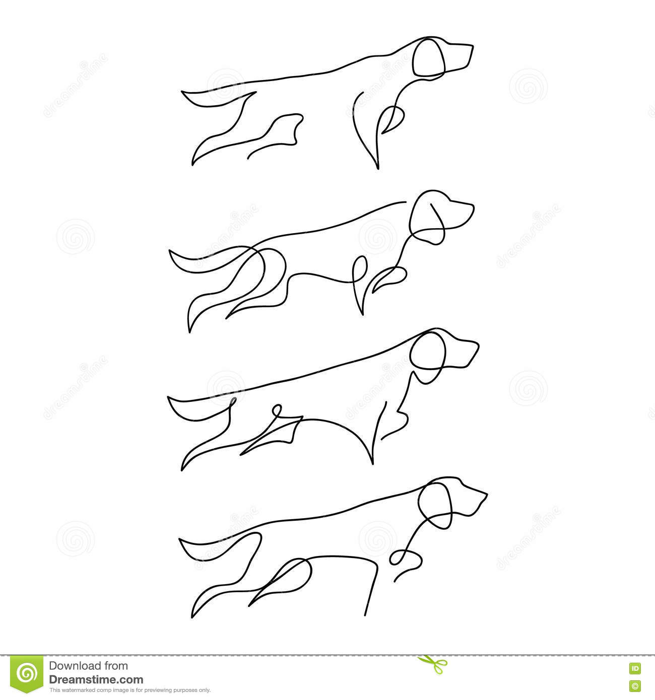 One Line Macro Art : One line dog design silhouette hound hand drawn vector