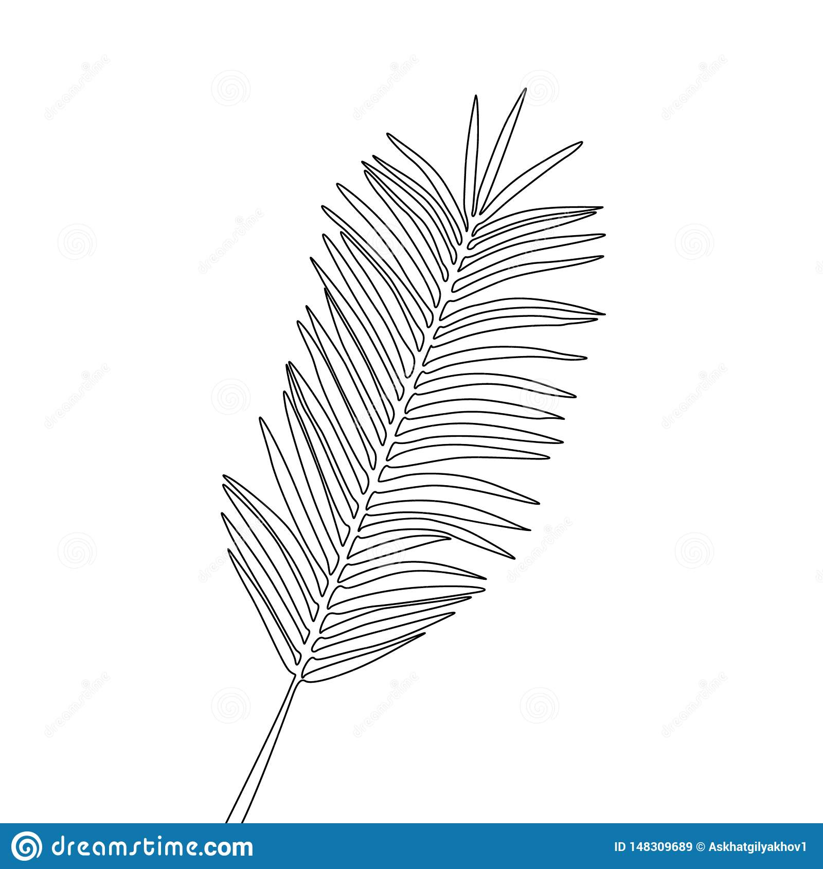 One line drawing areca palm leaf. Continuous line exotic tropical plant.
