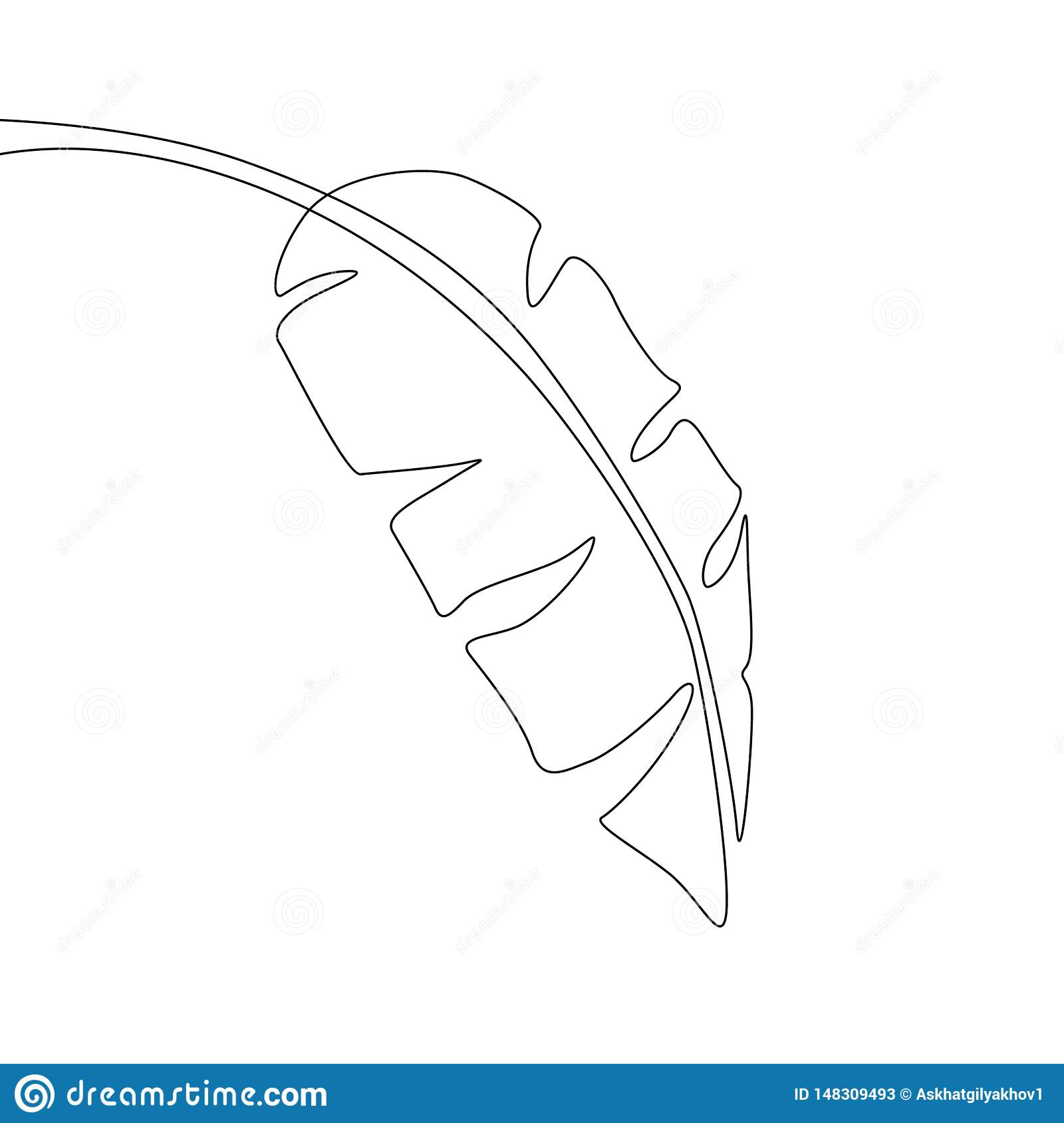 One line drawing banana leaf. Continuous line exotic tropical plant.