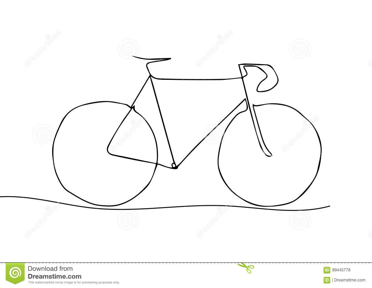 One Line Art Quotes : One line drawing or continuous art of a bicycle