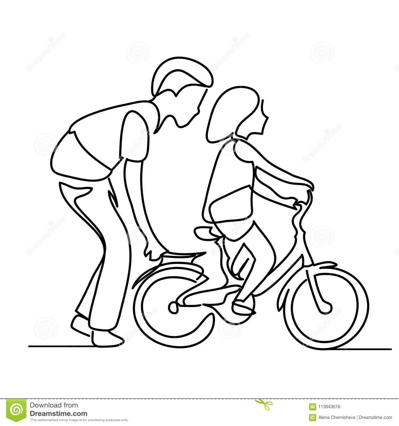 One Line Drawing Of Father Helping Child To Drive Bicycle ...