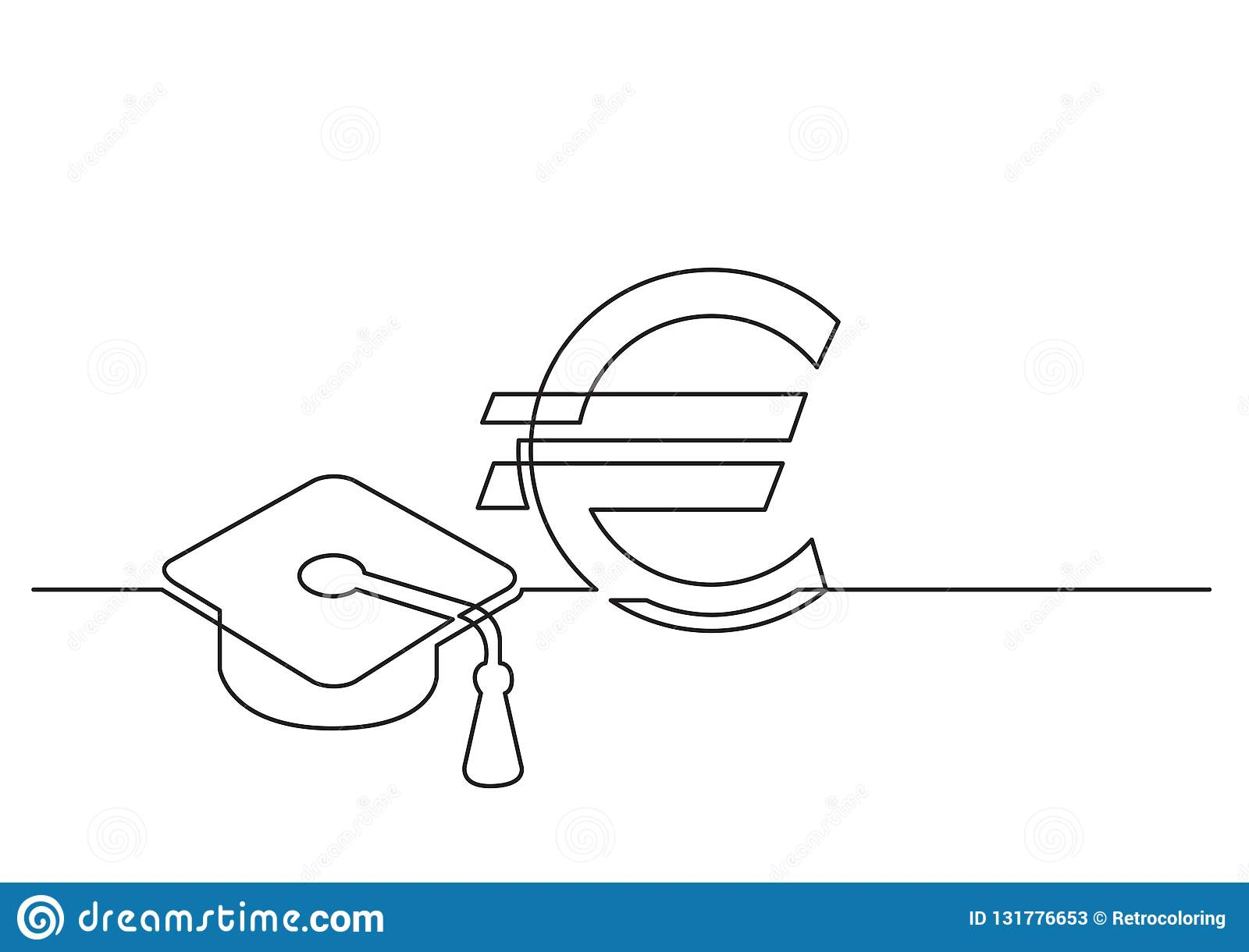 One line drawing of isolated vector object - cost of education in euro