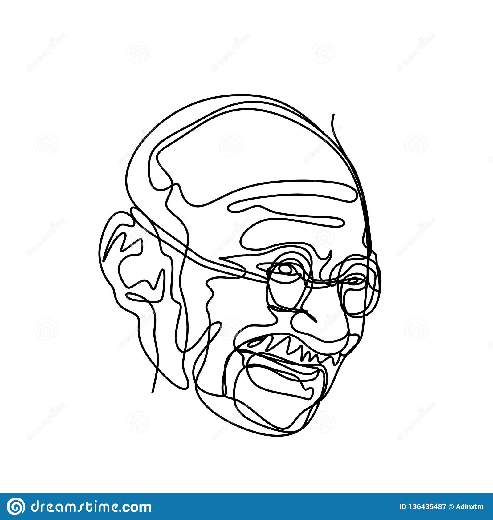 Continuous line drawing of mahatma gandhi gandhi was the leader of the indian independence movement