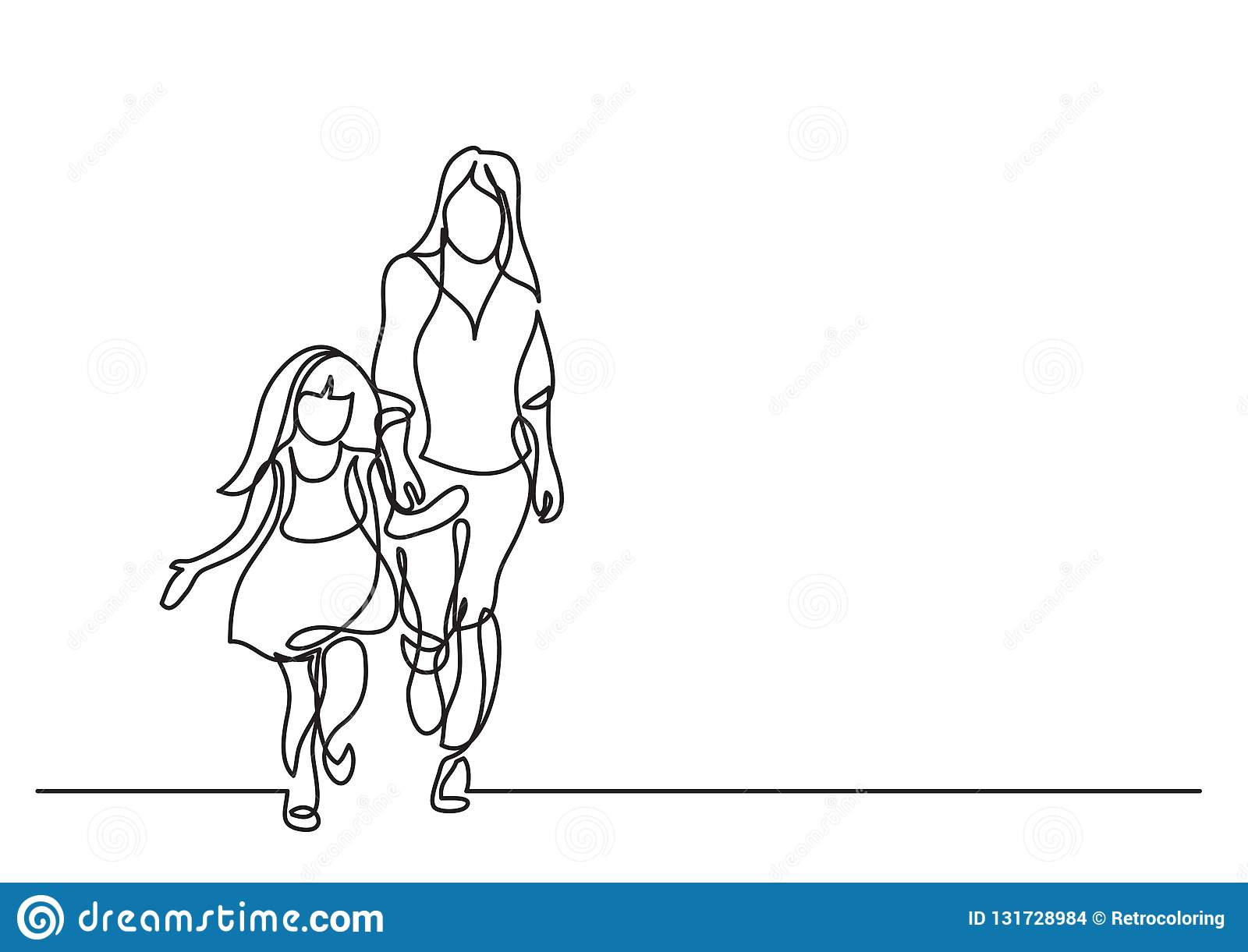 One Line Drawing Of Mother And Daughter Walking Together Stock