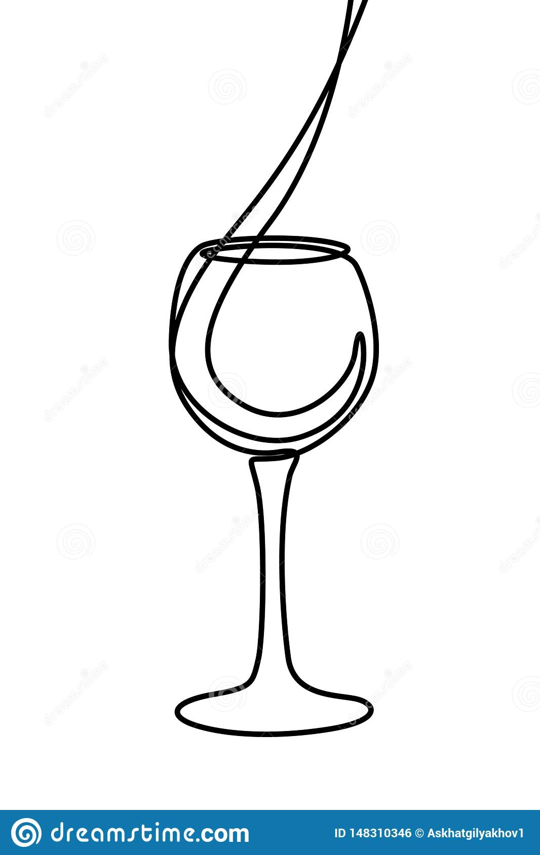 One line liquid is poured into a glass. Continuous line wineglass. Vector