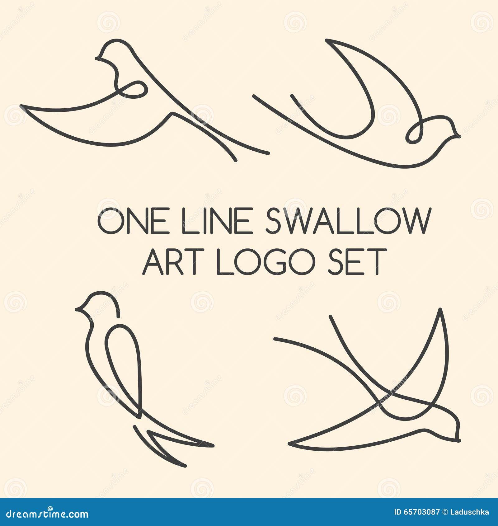 Single Line Unicode Art : One line swallow logo set stock vector image of fauna