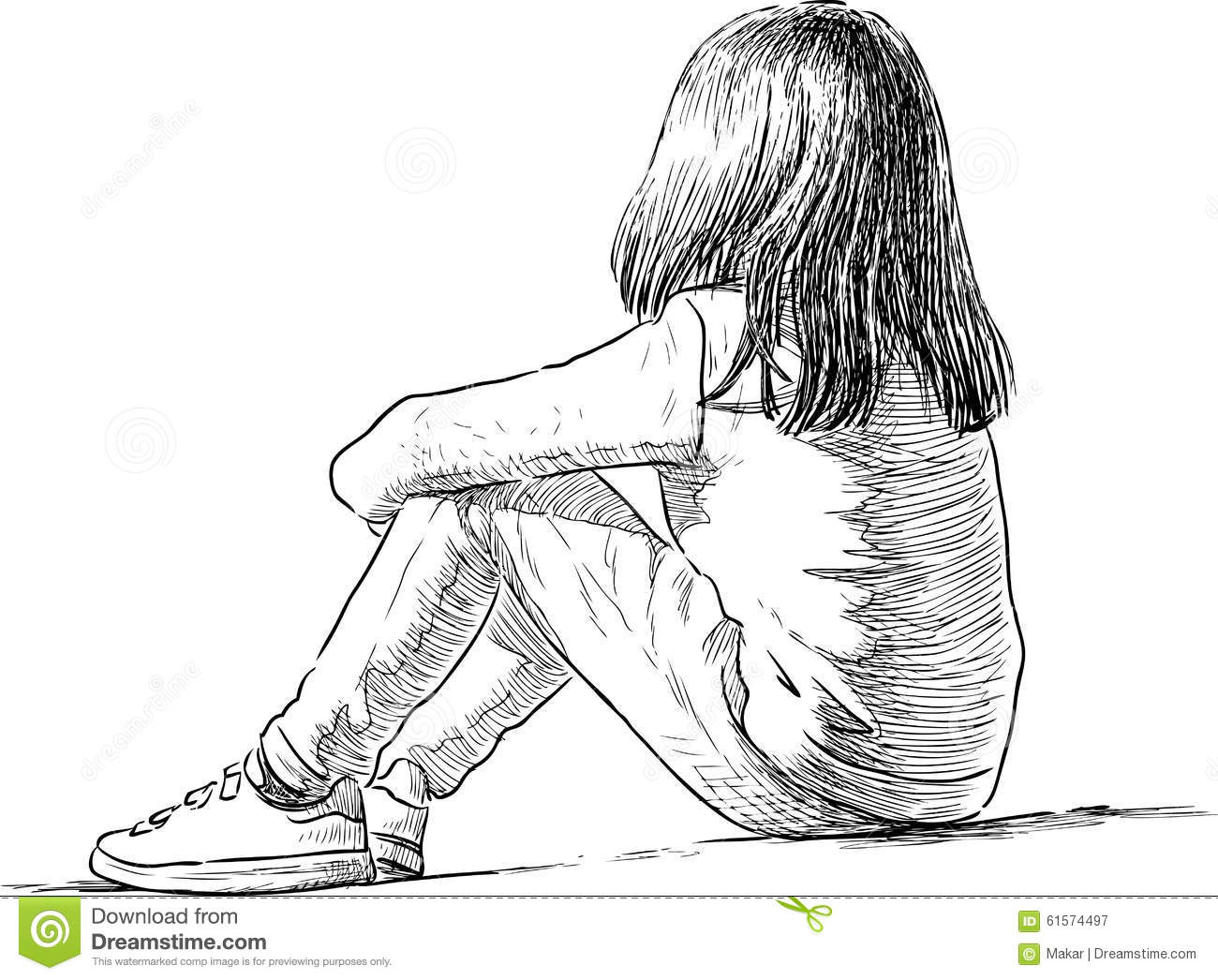 Vector drawing of a sitting little girl