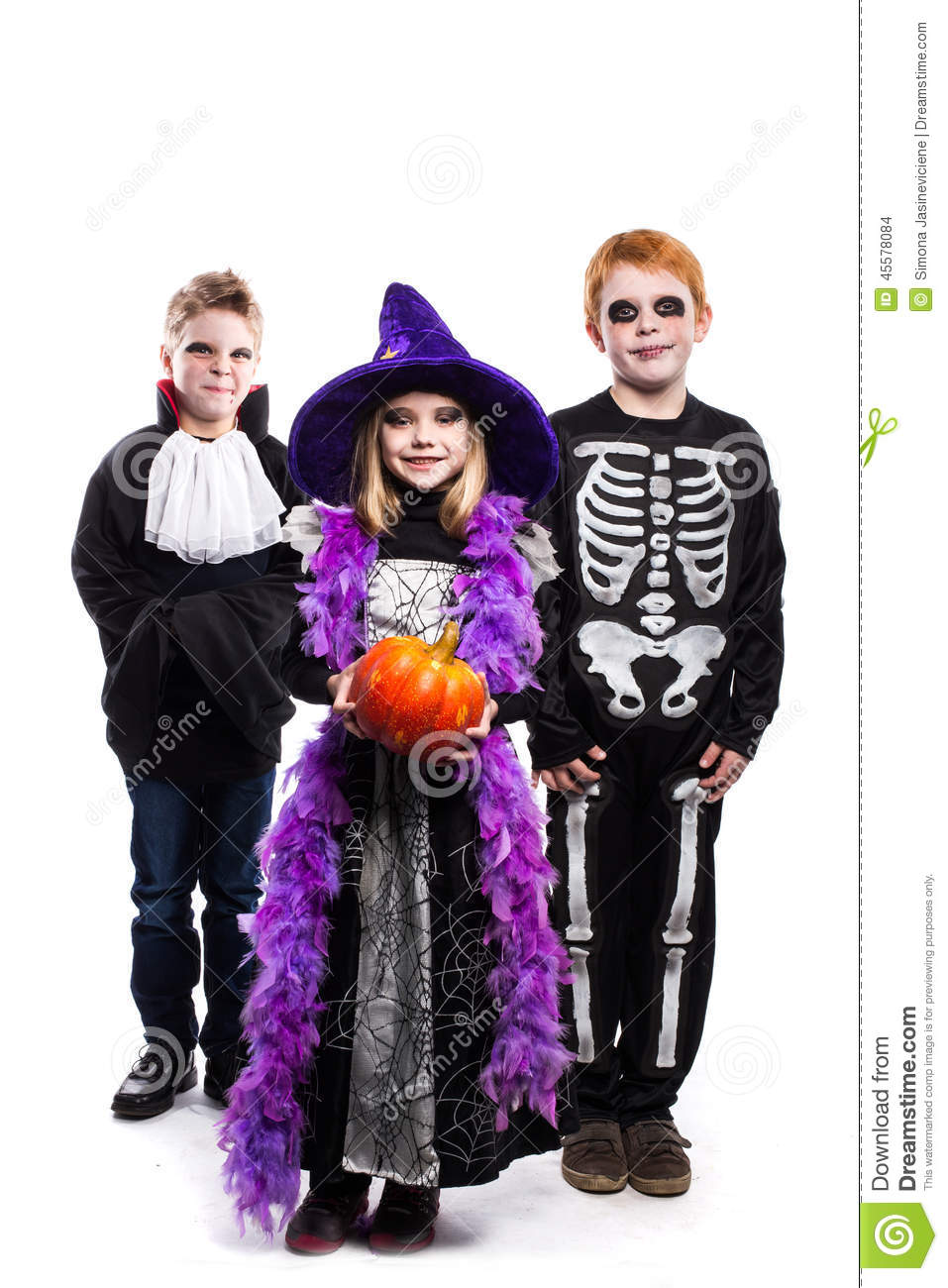 One Little Girl And Two Boys Dressed The Halloween Costumes: Witch ...