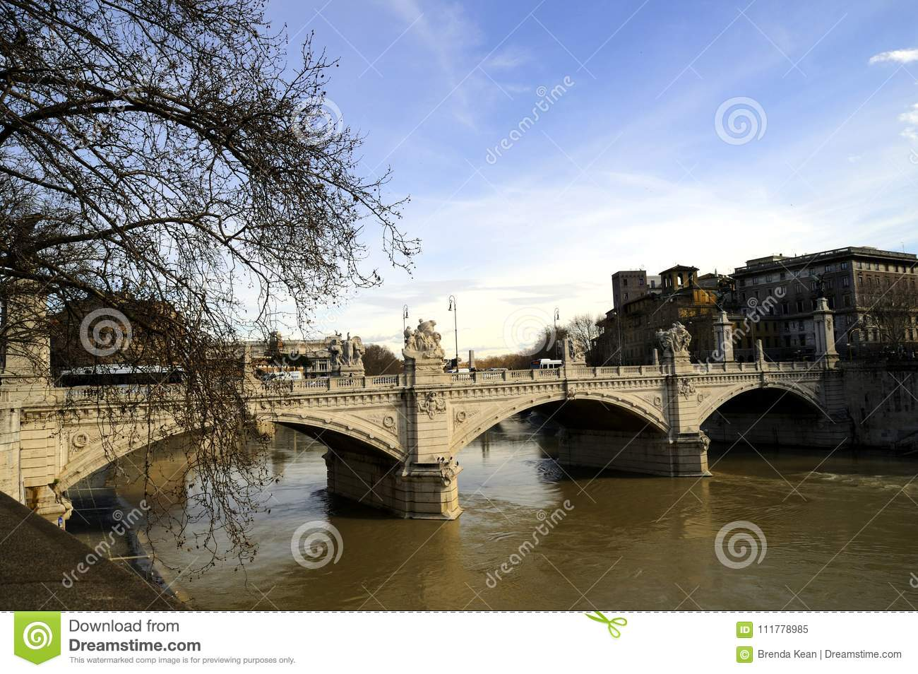 One of the lovely bridges over the River Tiber in Rome
