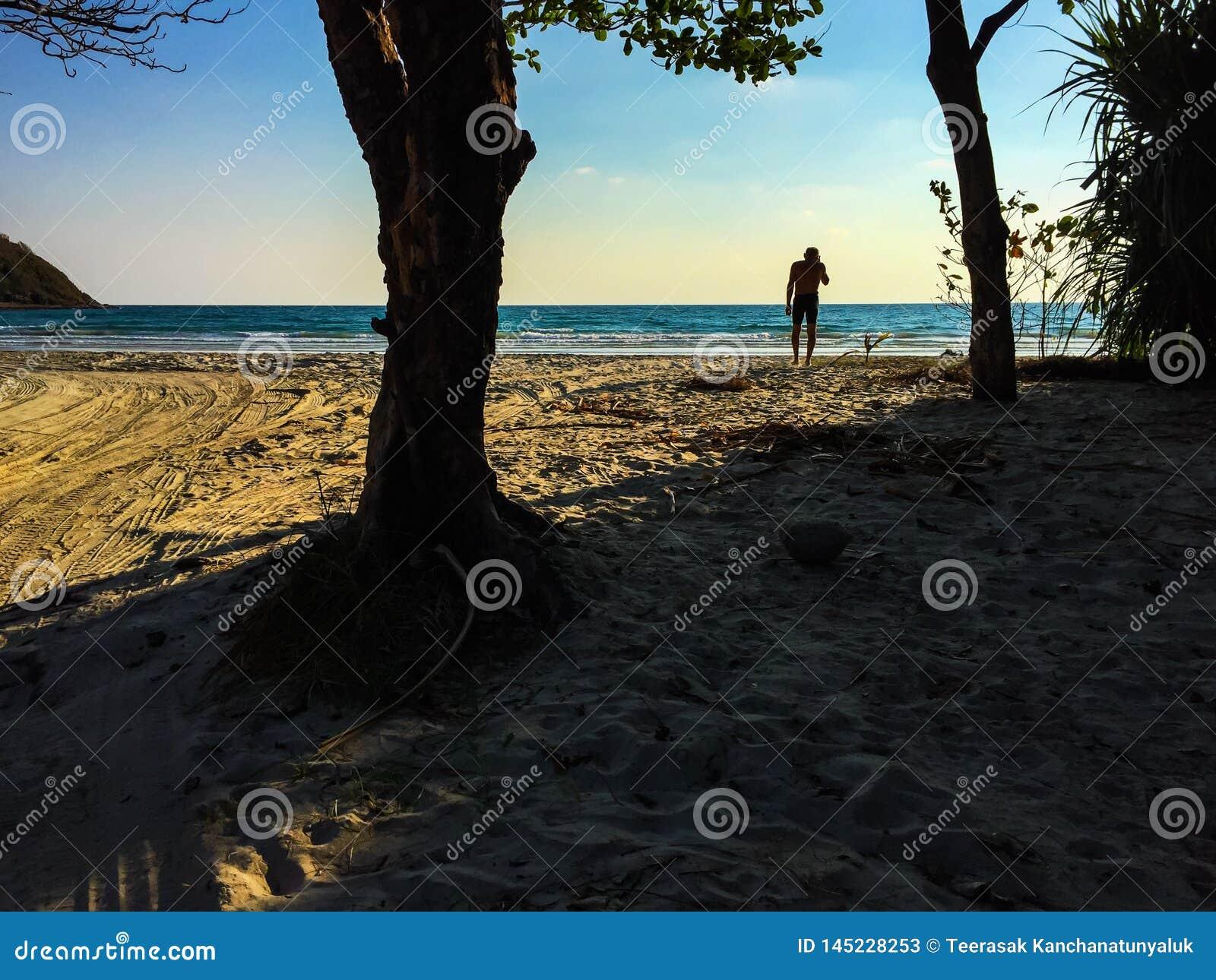 One man on the beach