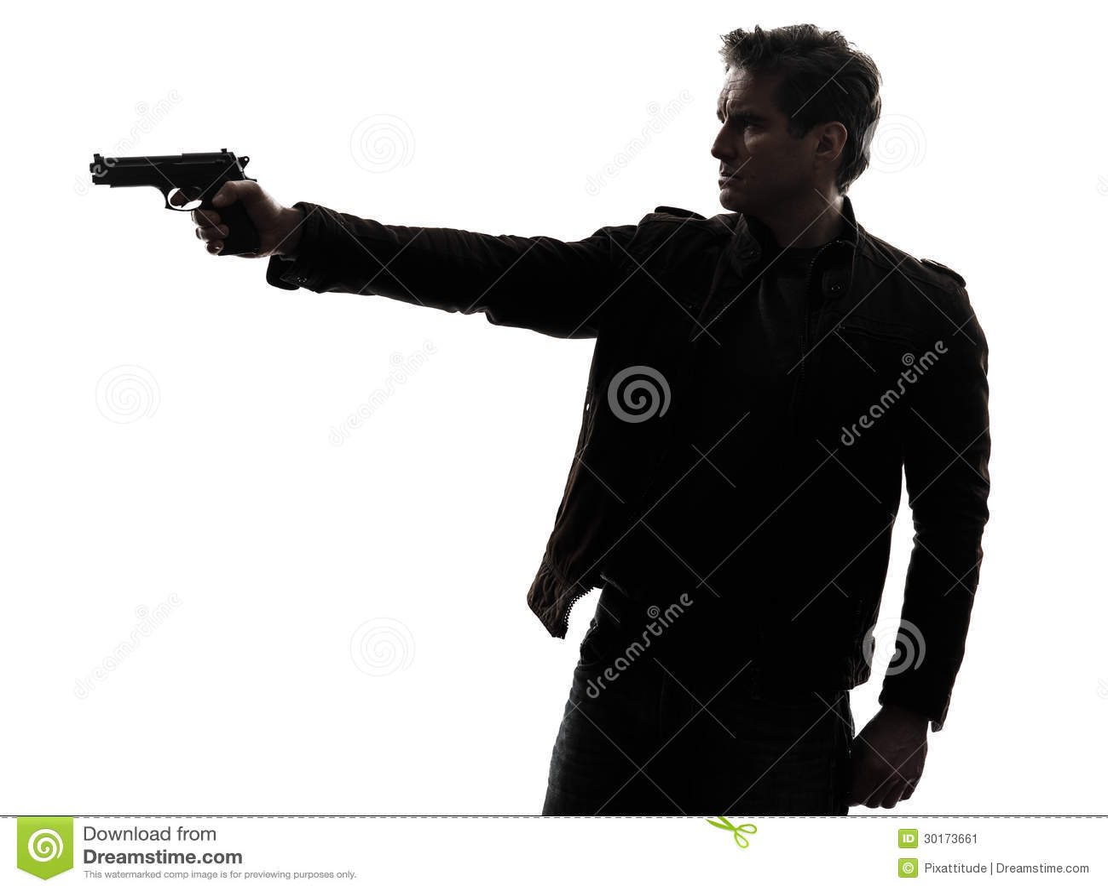 Man Killer Policeman Aiming Gun Silhouette Stock Image ...