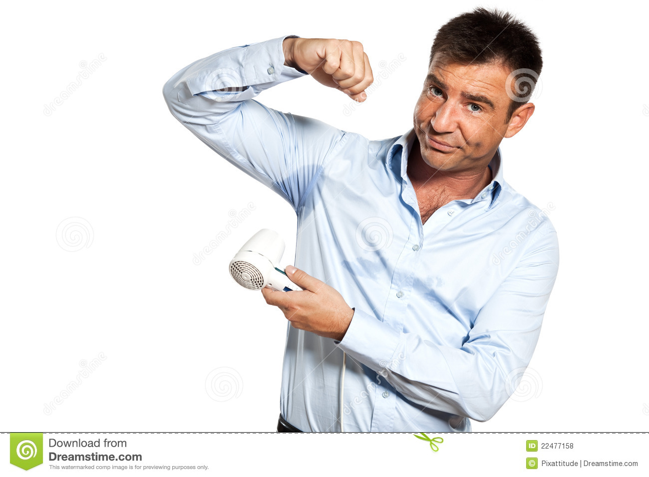 One man sweat stain perspire drying shirt stock photo for Sweat stains on shirt