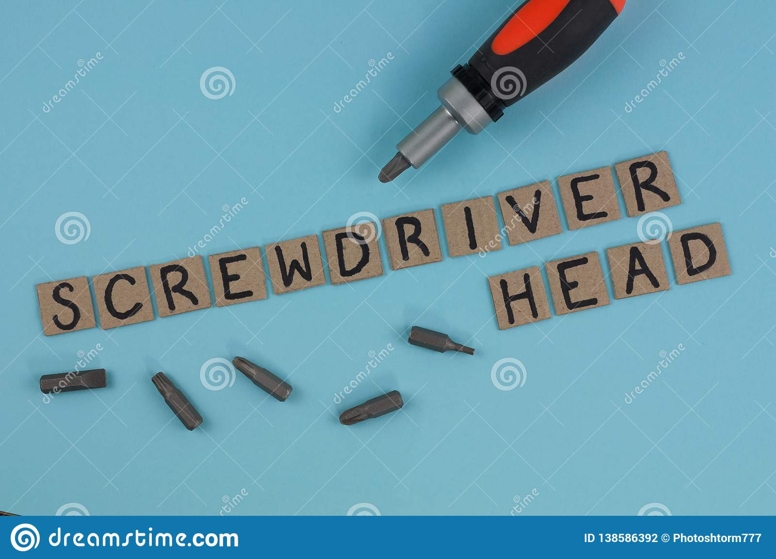 One Manual Screwdriver And Five Bits For Screwdriver Near