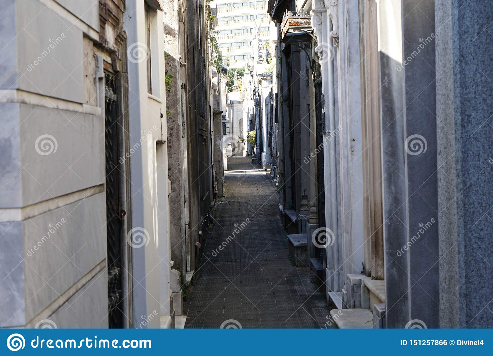 Narrow passage at cemetery in Recoleta