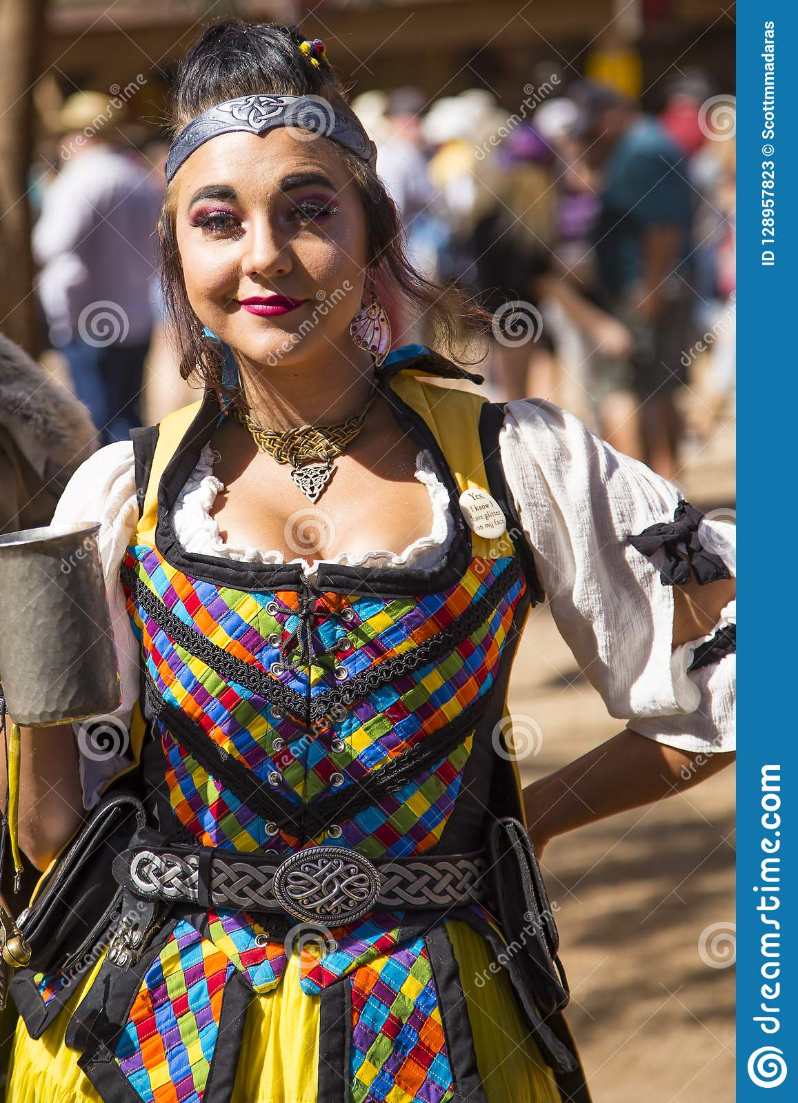 Woman In Period Costume At Renaissance Festival Editorial